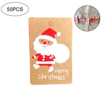 Wholesale wishing candles for sale - Group buy 50Pcs Merry Christmas Gift Tags With Santa Pattern Christmas Tags Labels Luggage Festive Wishes Hanging Present Decoration Wrap