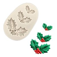Wholesale fondant christmas decorations for sale - Group buy Christmas Holly Decoration Fondant Cake Silicone Mold Chocolate Candy Molds Cookies Pastry Biscuits Mould DIY Cake Baking