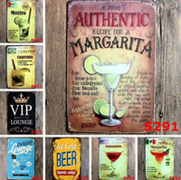ingrosso piastre metalliche verniciate per parete-Bar Pittura Mojito Cuba Cocktail Targhe in metallo vintage Targa in ferro retrò Pittura murale Decorazione per bar Cafe Home Club Pub Birra Artigianato