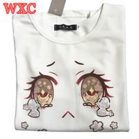 crianças sexy japonesas venda por atacado-- Miúdos da menina Grandes Olhos Chorar Mulheres - Verão de Algodão de Manga Curta Kawaii Japonesa Tops 2016 Verão Sexy Harajuku branco Lolita Meninas T-shirt