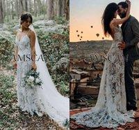 vestidos de noiva de rosa branca venda por atacado-Rose-Padrão A linha de vestidos de casamento Bohemian 2020 mangas White Lace Praia Boho Vestidos de casamento Backless vestidos de noiva vestidos de novia