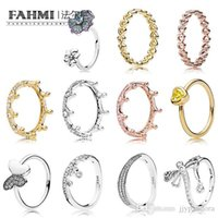 Wholesale geometric rings online - FAHMI Silver Elegant Wave Butterfly Shiny Drops K Gold Magic Crown Women Ring GEOMETRIC LINE GLORIOUS BLOOMS RING