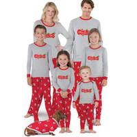 семейный набор подходящего снаряжения оптовых-Рождество семьи соответствующие наряды дети мама папа дед мороз семья пижамы топы брюки 2 шт.