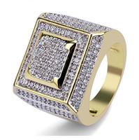 anillos de dedo de moda completa al por mayor-Hip Hop Anillos de joyería para hombre Diseñador de lujo Moda Chapado en oro Helado hacia fuera lleno CZ Anillo de dedo de diamante Bling Cubic Zircon Anillo de amor boda