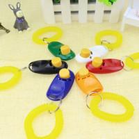 Wholesale small plastic chain resale online - Pet Bark Clicker Deterrents Trainer Pet Dog Puppy Training Button Sound Wrist Key Chain Portable Universal Dog Training Clicker LJJA2291