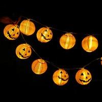 ingrosso le luci della lanterna della batteria-20LED lanterna zucca fotoelettrica String Garland Box batteria LED Capodanno Decorazioni di Natale per Halloween la casa natale Ornamenti caldi