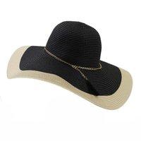 387a852dddf4a Sombreros de paja del remiendo del verano coreano para las mujeres Dama  sombrero para el sol con cadena de metal borla moda mujer niña gorra de playa  gran ...