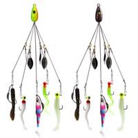 jig seti toptan satış-Balıkçılık Alabama Rig Lures 21.5 cm 18g Grup Saldırı Aksesuarları Jig Kafa Kanca Yumuşak Yem Balık 11 Parça Set