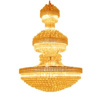 lâmpadas império venda por atacado-Royal Empire Lustres de Cristal De Ouro Duplex villa escadaria cristal lustre de cristal grande e moderno hotel de longa suspensão da lâmpada
