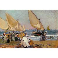 yağlı boya yelkenleri toptan satış-Plaj Resimleri Havadar Bir Günde Yelkenli Gemiler, Valencia Joaquin Sorolla y Bastida tuval üzerine yağlıboya El boyalı duvar dekor