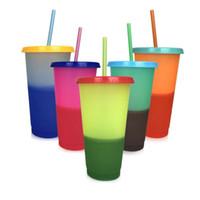 magischer temperaturwechselbecher groihandel-Kunststoff-Magic Cup Temperatur verfärbte Tasse kaltes Wasser Farbwechsel Kaffeetasse Wasser Flaschen mit Strohhalmen Set 24 Unzen