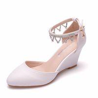 ingrosso tacco della piattaforma della cinghia della caviglia bianca-Sandali donna Casual sandali con zeppa di tela bianca Estate con cinturino alla caviglia con tacco medio Décolleté con tacchi alti
