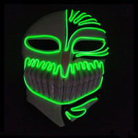voller blauer film großhandel-Purge Mask Azrael Masque Neon Masken LED Cosplay Halloween Full Face EL Luminous Maskenkörper, Blau, Grün Lumineszenzzeilen Bardian Maske 31ccD1