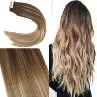 Wholesale skin weft hair extensions online - 50gram Tape In Human Hair Extensions Balayage Brazilian Virgin Hair Seamless PU Skin Weft