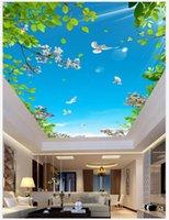 photos fraîches achat en gros de-Sur mesure 3D Photo plafonds Fond d'écran vert fleurs fraîches et belles feuilles ciel bleu peinture murale plafond colombe blanche