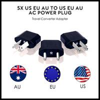 enchufe de ee.uu. al por mayor-EEUU / UE de la UA de alimentación de CA del convertidor del enchufe de la UE Adaptador EE.UU. a Europea de plástico Negro convertidor del recorrido máximo de 2200W dos pasadores