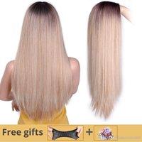 siyah beyaz karışık peruk toptan satış-Ben bir peruk uzun düz sentetik peruk karışık kahverengi ve sarışın uzun peruk beyaz / siyah kadınlar için orta kısmı doğa peruk