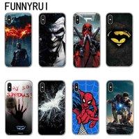 housse de l'iphone batman achat en gros de-Marvel Superheroes Batman SpiderMan Iron man Couverture souple en TPU en silicone pour iPhone X 8 7 6 6 s Plus Téléphone Samsung Cases Joker Deadpool