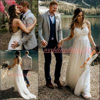 Wholesale images ball resale online - Modest Garden Beach Spaghetti Straps Wedding Dresses Lace Tulle Summer Spring African robe de mariée Bride Dress Ball Bridal Gowns