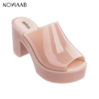ingrosso tacco piatto-Melissa Mule 2019 scarpe tacco alto nuova delle donne sandali piani della gelatina di marca Melissa per le donne dei sandali solidi gelatina femminile Scarpe Mulher