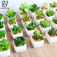 ingrosso piante in vaso di plastica-I nuovi 60 modelli Rare artificiale Pianta grassa Cactus mini piante in vaso scrivania decorazione vegetale Fake Plastic per la casa Garden Decor