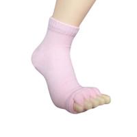 Wholesale sleeping feet socks resale online - Men Women Sleeping Health Foot Care Massage Five Fingers Toe Socks Compression Treatment Yoga Socks BB55