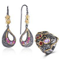 mor takılar setleri toptan satış-Mor Fuşya Kristal Küpe Yüzük Mücevherat Seti Yaprak Dangle Küpe Kadınlar için Pretty 2 adet Takı Setleri Doğum Günü hediyeleri
