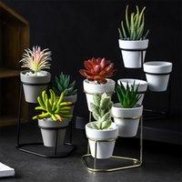blumen keramik großhandel-Mini Metall Blume Eisen stehen Grobkeramik Keramiktopf Stehen Hochzeit Büro Dekoration Boden Vase