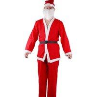 ingrosso abbigliamento adulto di natale-Set di vestiti per Babbo Natale per adulti Costume di Natale in peluche Cappello di Natale per uomo Set di cinture per orsi Decorazioni di vestiti per cosplay di Natale GGA2530
