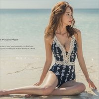 Wholesale fashion flowers for online - Lace One Piece Bikini For Women Printing Flower Camisole Swimming Suit Sexy Grace Soft Black Backless Fashion Swimwear nrD1