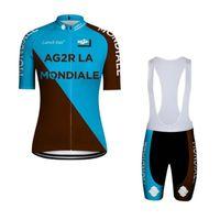 Wholesale mens cycling clothing set for sale - Group buy 2019 AG2R Aqua Blue summer mens short sleeve cycling jersey bike wear Clothes bib Set MTB uniform PRO cycling clothing bicycle k