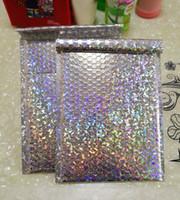 Wholesale metallic envelopes resale online - 15x13cm x30cm Large Sliver laser Wrap Glitter Metallic Bubble Mailer Bag Gift Bag Aluminum Foil Seals Bubble Envelope Gift
