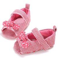 принцесса детская обувь девушки холст оптовых-Striped Cotton Infants Gift Toddler Shoes Kid Girls 0-18M  New Shoes Prewalker Princess Baby Canvas Bow