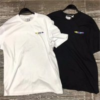 broderie multicolore achat en gros de-Vetements T Shirts Coloré Rainbow Candy Broderie Vetements Top Tees 2018 Hommes Femmes 1: 1 Mode Casual Vetements T-shirt Y190422