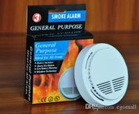 sensor de alarma de humo al por mayor-El humo blanco sin hilos del sistema detector con 9V con pilas de alta sensibilidad estable sensor de alarma contra incendios adecuado para detectar Seguridad para el Hogar