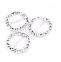 einladungsdekoration zubehör großhandel-20 teile / satz hochwertige Diamant Rhein Stein Schnalle Diy Bogen Haarschmuck Hochzeitseinladungen Rutsche Band Dekoration 20mm