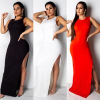 katı elbise düğmeleri toptan satış-Kadın Yaz Backless Elbiseler Katı Renk Bir Düğme Kolsuz Giyim Ekip Boyun Hi Lo Rahat Giyim