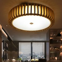 Wholesale drop light restaurant resale online - Chinese Wooden LED drop ceiling lamp Creative Wood round pendant lights residential dining living room bar restaurant lighting LLFA