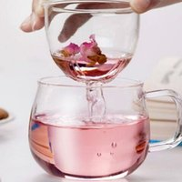 Wholesale teapot art resale online - Clear Glass Tea Cup Teapot Kettle With Filter Tea Art Cup For Flower Tea Washable Convenient