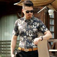 camisa do teste padrão do pássaro venda por atacado-Criativa 3d teste padrão do pássaro fashion streetwear camisa de manga curta Verão 2019New qualidade superior suave veludo camisa dos homens respiráveis M-3XL