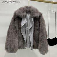 tilki yünlü palto toptan satış-Kalın Sıcak Kadınlar Gerçek Fox Kürk Patchwork Çift Taraflı Yün Motosiklet Kış Ceket Fox Kürk SH190930