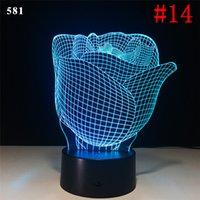 batería usb azul al por mayor-2019 Ilusión 3D 3D Lámpara LED Luz de la noche 7 RGB Colorido USB alimentado Quinto compartimiento de la batería Botón táctil Dropshipping