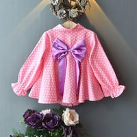 розовая рубашка большой лук оптовых-2019 новая осень новорожденных девочек блузки корейских детей с длинным рукавом розовая точка большой лук принцессы топы для 2-8 лет повседневные рубашки для девочек