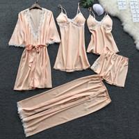 JAYCOSIN NEW 2019 Women Sexy Lace Lingerie Nightwear Underwear Babydoll Sleepwear Dress 5PC Suit 1.22