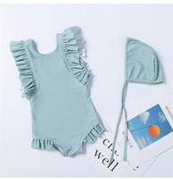 uma peça de cor azul venda por atacado-2-8 anos princesa bebê meninas swimwear rosa azul de uma peça crianças verão beach wear crianças cor sólida maiô