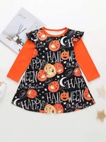 Wholesale little pumpkin baby clothes resale online - Girls Little Flying Sleeves Halloween Children girls Clothes Pumpkin Phantom Festival baby girl Long sleeved dress