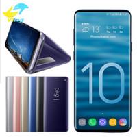 ingrosso flip cover sleep-Custodia per telefono per iPhone X XR XS max Note10 S8 s9 S10 plus Huawei Electroplate Clear Smart Cavalletto Specchio Visualizza Flip Cover Sleep wake