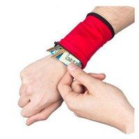 bolsas de banda venda por atacado-120 PÇS / LOTE Coin Purse Pure Color Wrist Carteira Bolsa Arm Band Bag Saco De Armazenamento De Cartão Chave Wristband Coin Bolsas