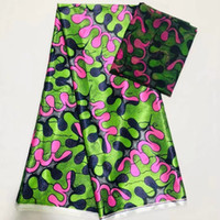 Wholesale african print fabric dresses resale online - 4Y Yards Hot sale green printed pattern korea chiffon silk lace fabric smooth african satin material for dress LS5