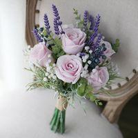 mor rose çiçek buketi toptan satış-JaneVini Ipek Mor Lavanta Çiçek Buketi Gelinler için Yapay Pembe Gül Düğün Buketleri Damat Broş Boeket Gelin Buketleri 2019